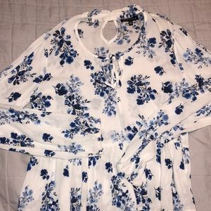 Blue and white long sleeve blouse